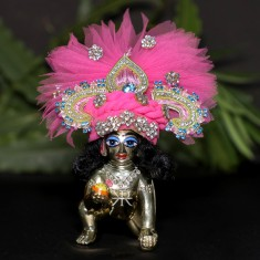 Designer Pink Stone Patch Work Laddu Gopal Pugree