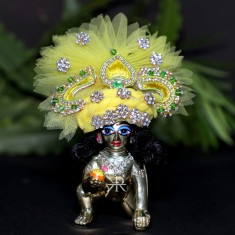 Designer Yellow Stone Patch Work Laddu Gopal Pugree