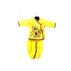 Yellow Cotton Print Work Krishna Dress