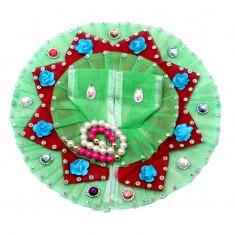 Parrot Green Flower Stone Work Dress