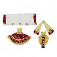 Jaipuri Maroon Yellow Flower Work Dress
