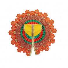 Yellow Orange Flower Embroidered Work Dress