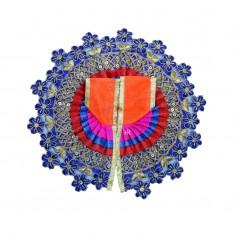 Orange Blue Flower Embroidered Work Dress