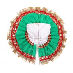 White Green Foil Lace Work Dress