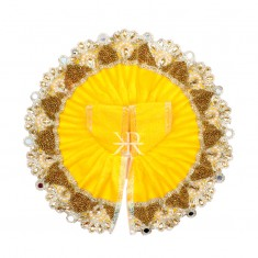 Yellow Kundan Pearl Lace Work Dress