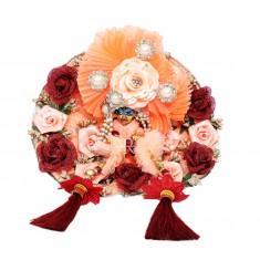 Designer Peach Marron Flower Patch Work Dress