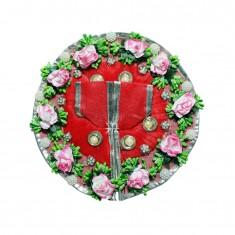Designer Red Flower Stone Patch Work Dress