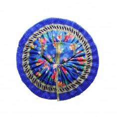 Blue Floral Print Lace Work Dress