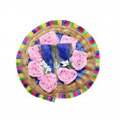Beautiful Blue Pink Flower Stone Patch Work Dress