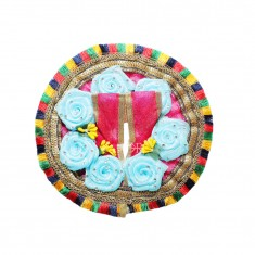 Beautiful Rani Sky Blue Flower Stone Patch Work Dress
