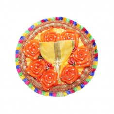 Beautiful Yellow Orange Flower Stone Patch Work Dress