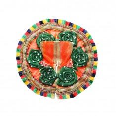 Beautiful Orange Green Flower Stone Patch Work Dress
