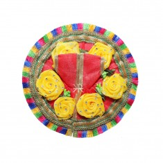 Beautiful Red Yellow Flower Stone Patch Work Dress