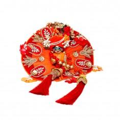 Designer Orange Red Stone Zari Patch Work Dress