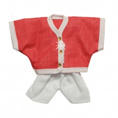 Red White Cotton Laddu Gopal Kurta Pant Set