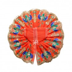 Orange Sitara Embroidered Lace Work Dress