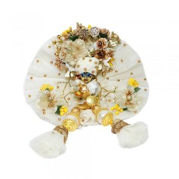 Designer White Golden Pearl Patch Work Dress