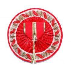 Red Sitara Embroidered Work Dress