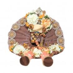 Designer Brown Stone Flower Patch Work Dress