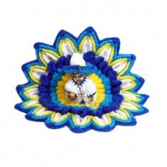 Blue Wollen Sun Flower Work Winter Dress With Cap