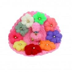 Pink Wollen Multi Flower Work Winter Dress With Cap
