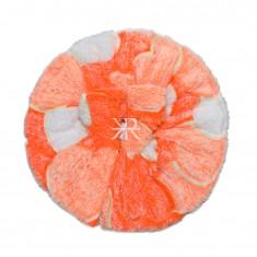 Orange White Wollen Print Work Winter Dress