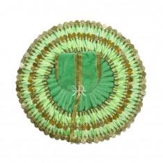 Pista Green Sequins Lace Work Winter Dress