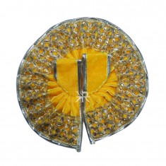 Yellow Gotta Kundan Lace Work Winter Dress