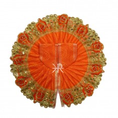 Orange Kundan Zari Lace Work Dress