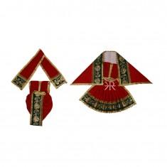 Red Zari Embroidered Lace Work Radha Krishna Dress
