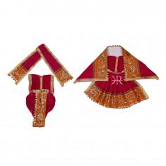 Rani Zari Embroidered Lace Work Radha Krishna Dress