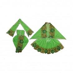 Beautiful Parrot Green Kundan Lace Work Radha Krishna Dress