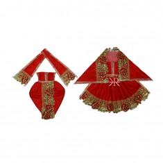 Beautiful Red Kundan Lace Work Radha Krishna Dress
