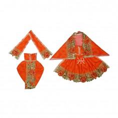 Beautiful Orange Kundan Lace Work Radha Krishna Dress