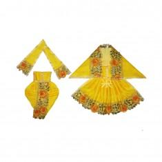 Beautiful Yellow Kundan Lace Work Radha Krishna Dress