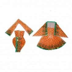 Beautiful Orange Sparkle Dots Sequins Lace Work Radha Krishna Dress