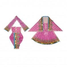 Beautiful Purple Sparkle Dots Sequins Lace Work Radha Krishna Dress