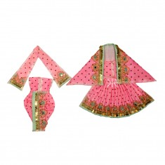 Beautiful Pink Sparkle Dots Sequins Lace Work Radha Krishna Dress