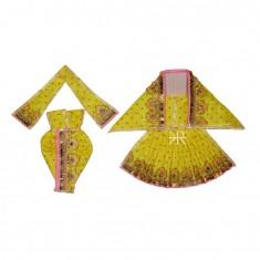 Beautiful Lemon Sparkle Dots Sequins Lace Work Radha Krishna Dress