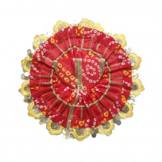 Red Yellow Bandhni Print With Sequins Lace Work Dress