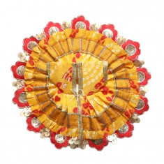 Yellow Red Bandhni Print With Sequins Lace Work Dress