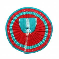 Firozi Red Foil Lace Work Dress