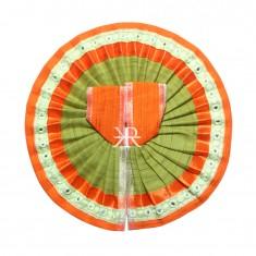 Orange Mehandi Foil Lace Work Dress