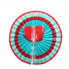 Red Firozi Foil Lace Work Dress
