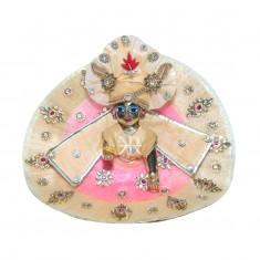 Designer Peach Pink Kundan Stone Patch Work Dress