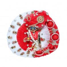 Designer White Red Kundan Stone Patch Work Dress