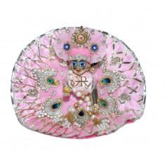 Designer Pink Stone Patch Gotta Lace Work Dress