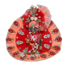 Designer Red Peach Stone Patch With Net Frill Work Dress