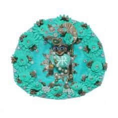 Designer Sea Green Flower Stone Patch Work Dress