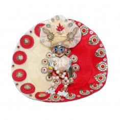 Designer Cream Red Stone Patch Work Dress